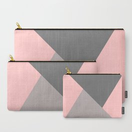Geometric pattern pink/grey Carry-All Pouch
