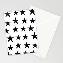 Star Pattern Black On White Stationery Cards