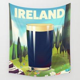 Ireland cartoon travel poster Wall Tapestry