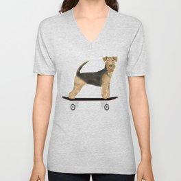 Airedale Terrier Skateboard Dog art Unisex V-Neck