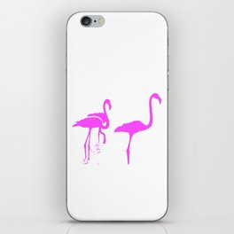 Three Flamingos Pink Silhouette Isolated iPhone Skin