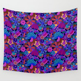 70's Psychedelic Garden in Cool Jeweltone Wall Tapestry
