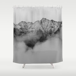 Mountains (Black and White) Shower Curtain
