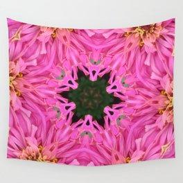Pink Zinnia Kaleidoscope Mandala Wall Tapestry