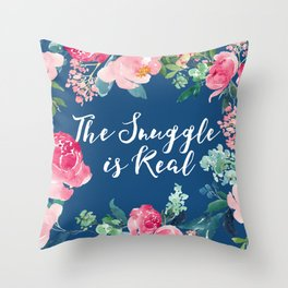 The Snuggle is Real - Blue Floral Throw Pillow
