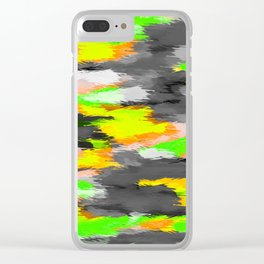psychedelic camouflage splash painting abstract in orange green yellow and black Clear iPhone Case