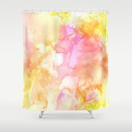 Pink and Yellow Abstract Shower Curtain