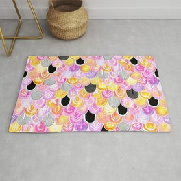 Citrus, Cotton Candy & Licorice Watercolor Scales Rug