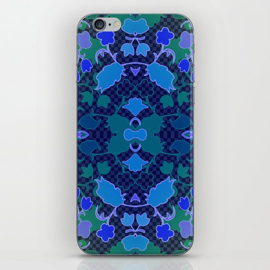 Lila's Flowers Repeat Blue iPhone & iPod Skin