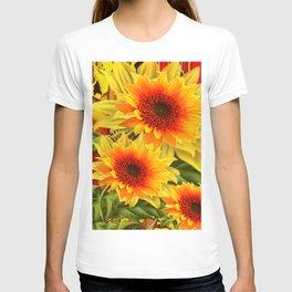 GOLDEN YELLOW KANSAS SUNFLOWERS RED ART T-shirt