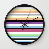 striped Wall Clocks featuring Striped by Katy Martin