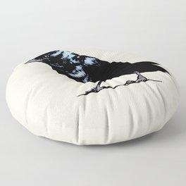 Blue-black Grassquit Bird Ink Illustration Floor Pillow