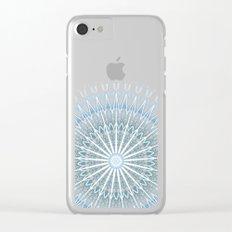 Blue White Geometric Mandala Clear iPhone Case
