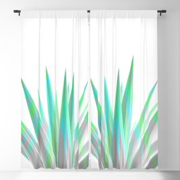 Tropical Allure - Green & Grey on White Blackout Curtain
