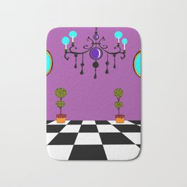 An Elegant Hall of Mirrors with Chandler and Topiary in Purples Bath Mat