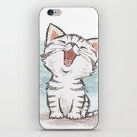 cat coquillette iPhone & iPod Skins featuring Cat by Toru Sanogawa