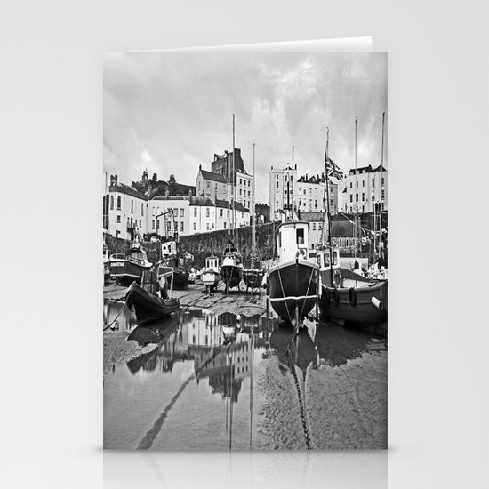 Tenby Harbour Boats.Pembrokeshire.B+W. Stationery Cards