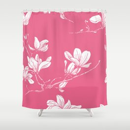 Seamless magnolia flower pink pattern in japan style Shower Curtain