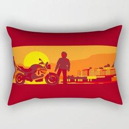 Bikers sunset pause Rectangular Pillow