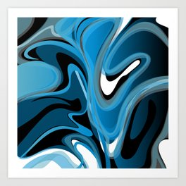 Liquify in Denim, Navy Blue, Black, White Art Print