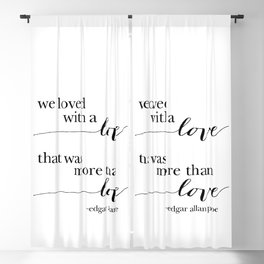 We loved with a LOVE, black and white palette Blackout Curtain