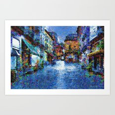 Rain in blue Art Print