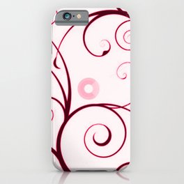 Cranberry Red Swirls and Circles iPhone Case