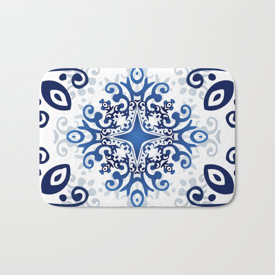 Blue Decorative Design Bath Mat