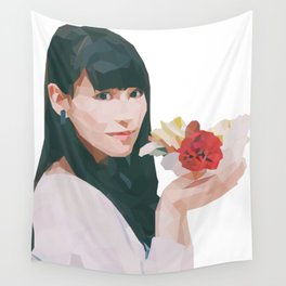 Pretty with Flowers Wall Tapestry