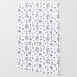 Bird House Drawings, Pattern Wallpaper