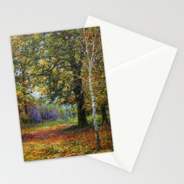 Jewels of Autumn Foliage with Sugar Maples, Lilac, White Birch & Blueberry landscape by V. Metyolkin Stationery Cards