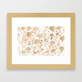 Mushrooms Watercolor Framed Art Print