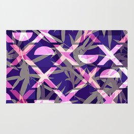Fresh Vibrant Purple Geometric Bamboo Design Rug