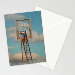 Window cleaner in the sky Stationery Cards