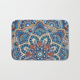 Blue dot art mandala Bath Mat