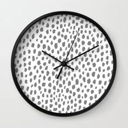 Gray Dalmatian Spots (gray/white) Wall Clock