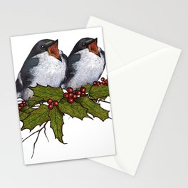Christmas Illustration: Singing Birds With Holly Leaves, Twigs Stationery Cards