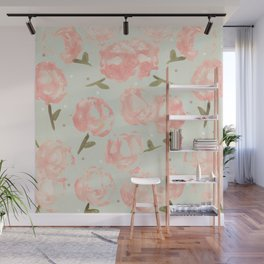 Syana's Cabbage Roses Wall Mural