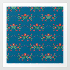 Small floral kitchen collection blue Art Print