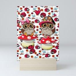CUTE OWLS & LADYBUGS Mini Art Print