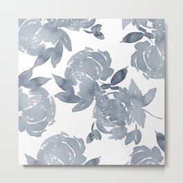 Blue Peonies watercolor Metal Print