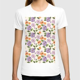 Rustic orange lavender ivory floral illustration T-shirt