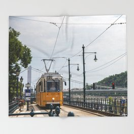 Yellow Budapest Tram Photography Throw Blanket