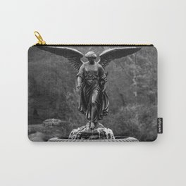 Believe in Magic, Bethesda Terrace Angel Fountain black and white photograph / art photography Carry-All Pouch