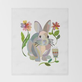 Bunny Rabbit with Flowers Throw Blanket