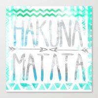 hakuna Canvas Prints featuring Hakuna Matata by Sara Eshak