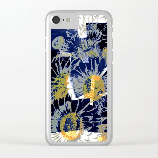 daisies on astract bakground Clear iPhone Case