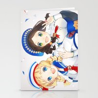 monster hunter Stationery Cards featuring Monster Hunter 3 Receptionists by weee