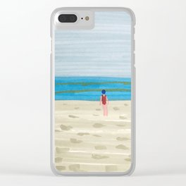 Swimmer on a Winter Beach Clear iPhone Case