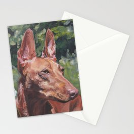 Cirneco dell'Etna dog portrait Beautiful Fine Art Dog Painting L.A.Shepard Stationery Cards
